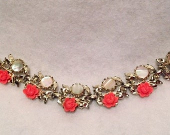 Bracelet - Silver tone link with coral roses and abalone