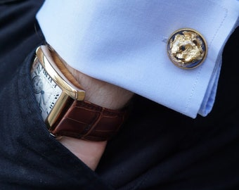 Resin and gold flakes cufflinks