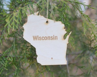 Natural Wood Wisconsin State Ornament