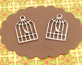 12 charms silver birdcages BA77X2