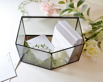 Large Light Gray Glass Envelope Holder, Glass Box, Wedding Card Box by Jacquiesummer, Made to Order