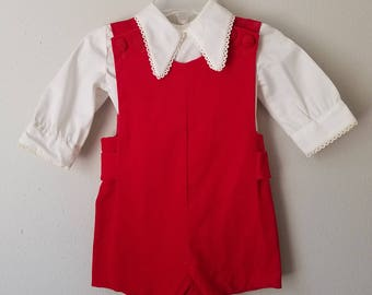 Vintage Boys Red Velvet Jon Jon Romper and White Shirt with Lace Trim by C.I. Castro   - Size 12 Months- New, never worn