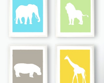 SALE! Set of 4 Zoo Animal Prints - Giraffe Hippo Elephant Lion Silhouettes Nursery Art Childs Room Custom 8x10