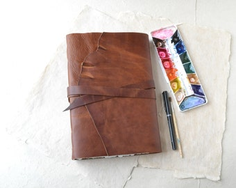 Large Rustic Leather Journal with Watercolor Paper