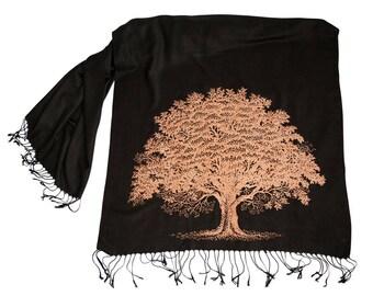 Oak Tree Scarf. Tree Print Scarf, Tree Silhouette Printed Scarf. Linen-Weave Vegan Wedding Pashmina tree hugger botanical print, Wiccan gift