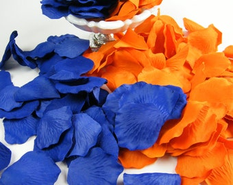 200 Orange and Royal Cobalt Blue Artificial Petals   Flower Basket Petals   Ceremony   Table Decor