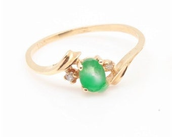 Vintage Emerald Ring Emerald and Diamond Ring 14K Emerald Ring Stackable Ring Anniversary Birthday Dainty Gold Ring Mother's Day