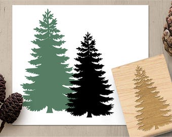Pine Tree Stamp, Evergreen Stamp, Conifer Stamp, Forest Woods Stamp, Nature Stamp, Outdoors Rubber Stamp, Card Making Stamp 171