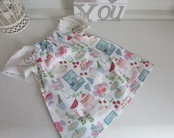 Baby Girl's Summer Dress made in Lewis and Irene Picnic in the Park fabric