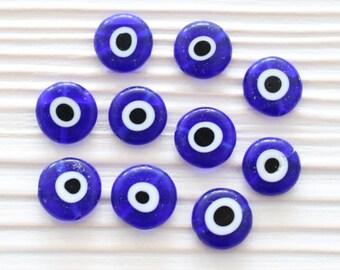 10pc-12mm evil eye beads, flat glass beads, lamp work beads, navy blue, blue evil eye, glass beads, handmade, evil eye glass, round beads