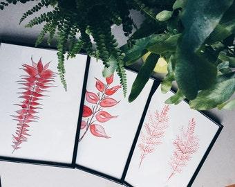 Botanical Print Fern Print Fern Wall Art Fern Art Plant Print Watercolor Wall Art Walldecor Abstract Art Red Fern Red Decor