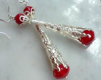 Filigree silver earrings, red and silver dangles, red faceted earrings, silver earrings, long earrings, Boho earrings, vintage style dangles