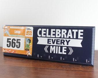 Race medal and bib holder  - Celebrate every mile - bib and medal display - race medal rack