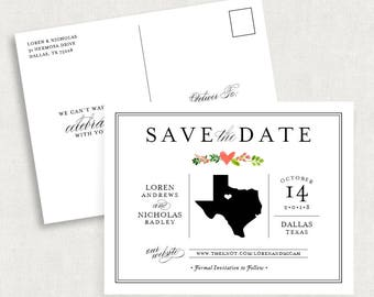 Texas Save the Date Postcards, State Save the Date Postcards, Printable Save the Date, Printed Save the Dates, DIY Save the Dates, Floral