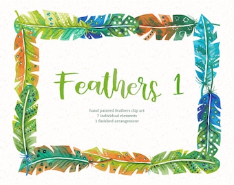 Feathers Watercolor clip art/Feather clip art/Hand Painted clip art for commercial use