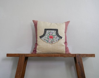 """18"""" by 18"""" Vintage Hemp Cushion Cover Hmong Hill Tribe Ethnic Embroidered Thai"""