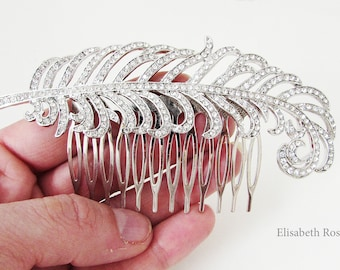 Feather Hair Comb, Silver Rhinestone Feather Hair Comb, Vintage Style Bridal Comb, Bride Hair Comb, Silver Hair Comb for Bride