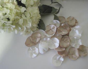 Champagne and Ivory Satin Rose petals wedding, aisle, flower girl basket anniversary romantic night  Baby Shower Wedding Decor