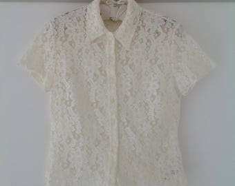 Vintage blouse, Ivory lace top, 90's cream lace blouse, Ivory ladies top, boho top, 90's clothing, womens blouse,  summer top, vintage top
