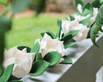 Felt Magnolia Garland, Magnolia Flower, Felt Flowers, White Flowers, Flower Garland, Magnolias, Magnolia Name