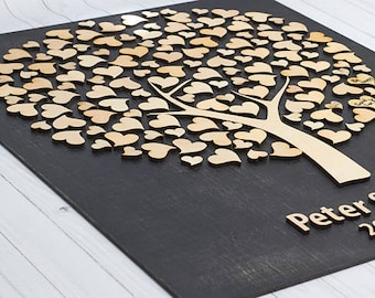 Rustic wedding guest book 3D wood wedding guest book alternative Personalized wedding guestbook Wedding tree book for sign