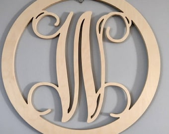 Wooden Monogram Initials   Wall Hanging Letters With Round Border   Monogram  Door Hanger   Nursery Decor   Wedding Guest Book Sign, Any Size
