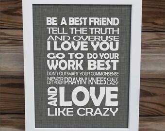 Love Like Crazy - song lyrics print - Lee Brice - typography subway style - custom colors