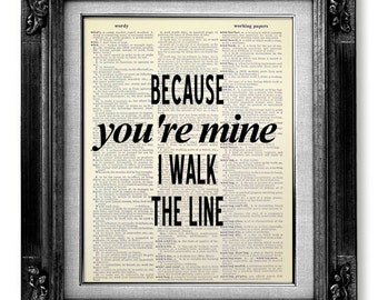 Johnny Cash Wall Art QUOTE POSTER, Rustic Country Decor, Song Lyric Art, Unique ENGAGEMENT Gift, Wedding Lyrics Wall Art, Classical Music