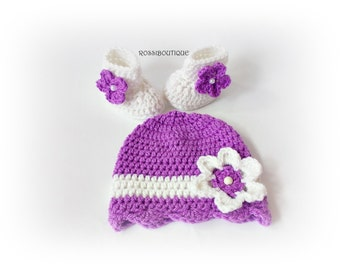 Baby hat and boots, Crochet baby set, White purple baby set, Newborn hat, Crochet hat shoes, Baby Girl's set, Newborn hat boots, Knit set