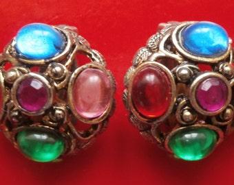 FREEPOST! LARGE VINTAGE stone clip on earrings