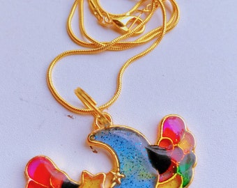Resin Cast Rainbow Winged Crescent Moon Pendant, Goldtone Necklace
