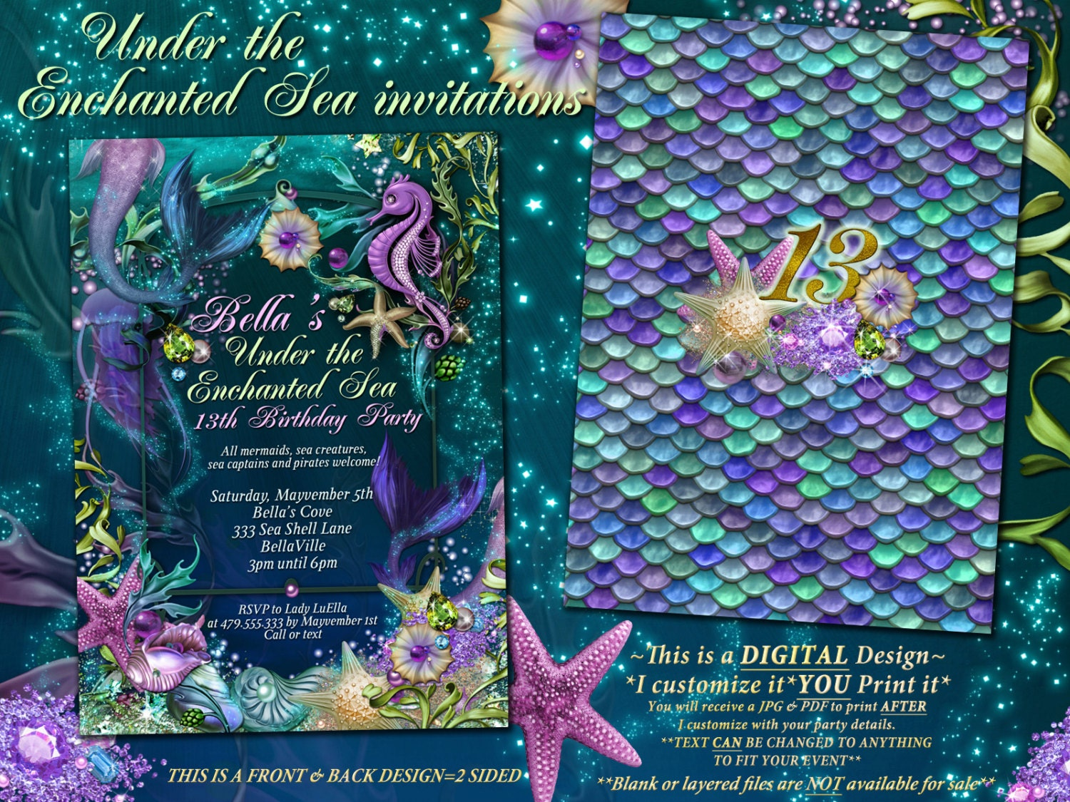 Mermaid Mermaid Pool Party Invitations Mermaid Birthday