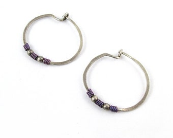 "Sterling Silver 0.8"" Hoop Earrings with Purple Accents 