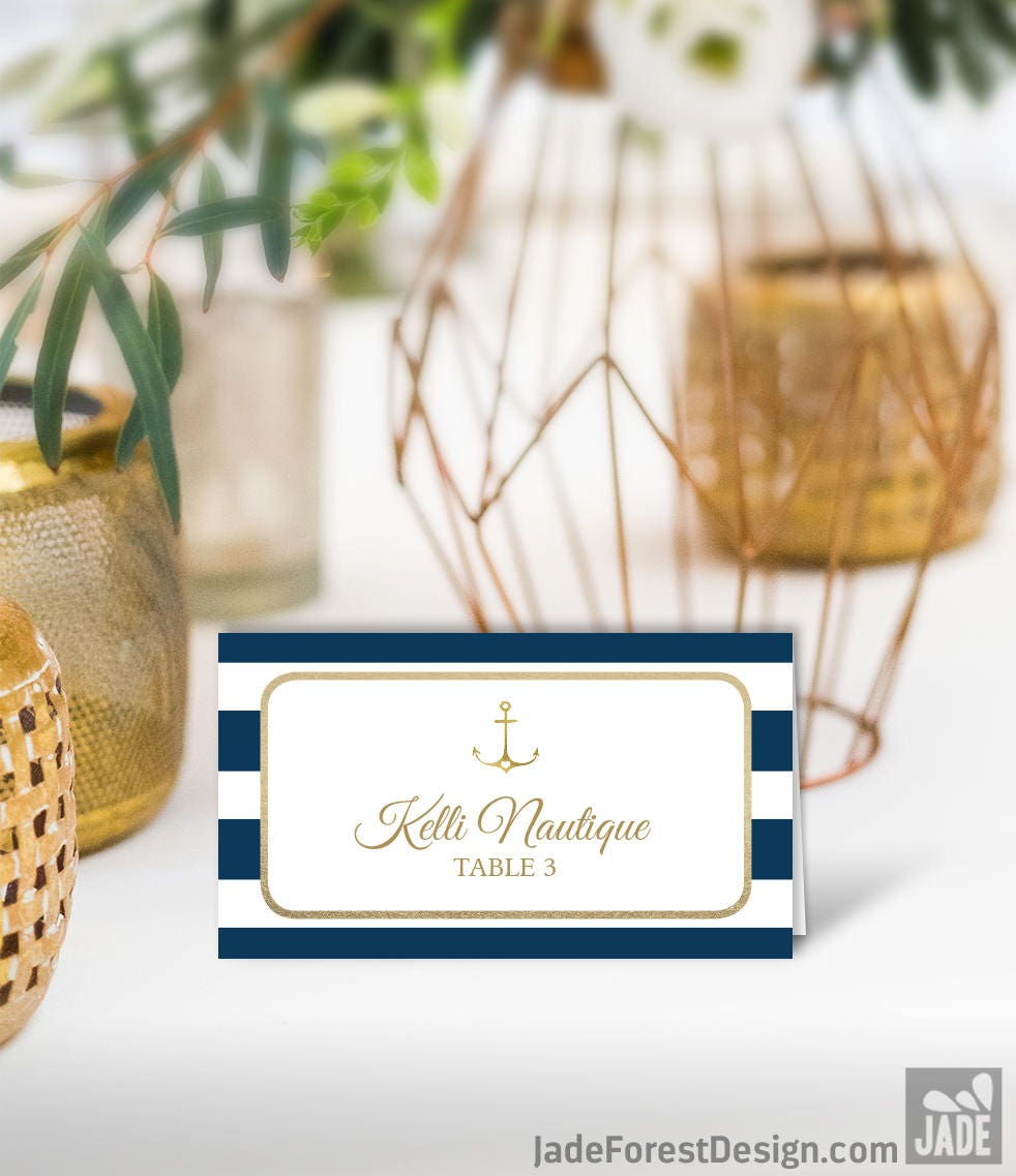 Nautical Wedding Place Cards / Nautical Stripes / Navy Stripes, Gold ...