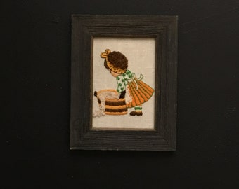 Framed Crewel Art Embroidered Artwork NeedlepointArt