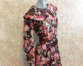 Vintage 80s CORDUROY Laura Ashley Dress Floral with Pink and Blue Flowers  small medium