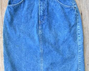 Vintage 80's Gap Work Force High Waist Denim Skirt / Vintage Denim Skirt / Size S