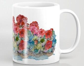 Mug, Red Geraniums mug, 11 oz and 15 oz
