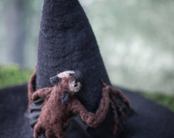 Witch hat with baby Bat wizard hat felted hat from wool Halloween costume witch costume larp hat cosplay