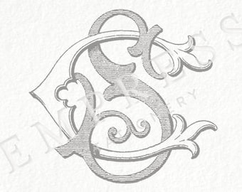 Digital Wedding Monogram  CS SC Vintage Double
