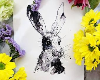 Hare watercolour and ink original print / drawing / artwork