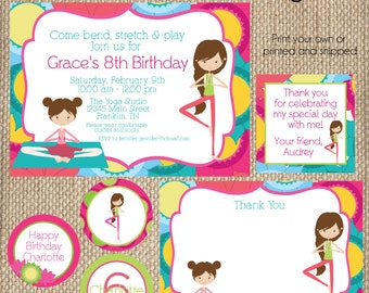 Yoga Birthday SMALL Party Package - Print your own -Girls Custom Invitation Bright Colors