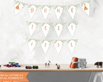 Fox Baby Shower Bunting Banner A-Z, Alphabet Fox Bunting Banner, All Letters and Numbers, Woodland Bunting Banner, INSTANT DOWNLOAD