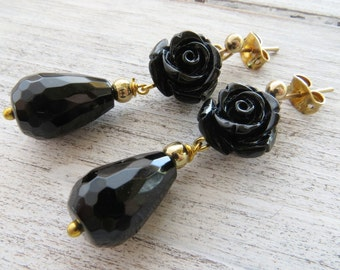 Black rose earrings, black onyx earrings, dangle earrings, drop earrings, uk gemstone jewelry, stone earrings, romantic jewellery, gift