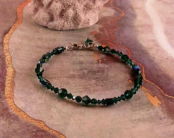 Handmade Swarovski Crystal Emerald & Sterling Silver Bracelet