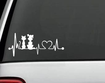 K1046 Dog & Cat Heartbeat © Lifeline Decal Sticker