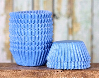 Mini Light Blue Cupcake Liners, Baby Blue Candy Cups, Light Blue Cake Pop Cups, Mini Baby Shower Cupcake Liners, Truffle Cups (100)