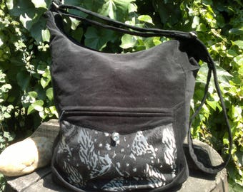 Black corduroy messenger bag,zippered big bag