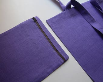 Purple Linen Tote Bag with a Small Bag for Keeping it