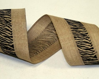 "2.5"" Zebra Burlap Linen Ribbon (20 Yards)"